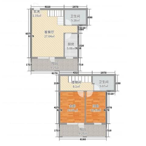 开元溪府2室2厅2卫1厨116.00㎡户型图
