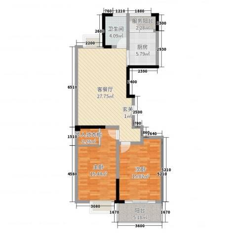 兴业・王府花园二期2室2厅1卫1厨98.00㎡户型图