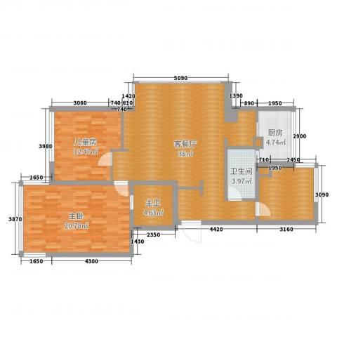 康桥半岛城中花园2室2厅1卫1厨116.00㎡户型图