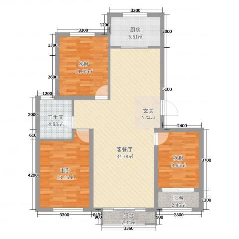 天承锦绣3室2厅1卫1厨116.00㎡户型图