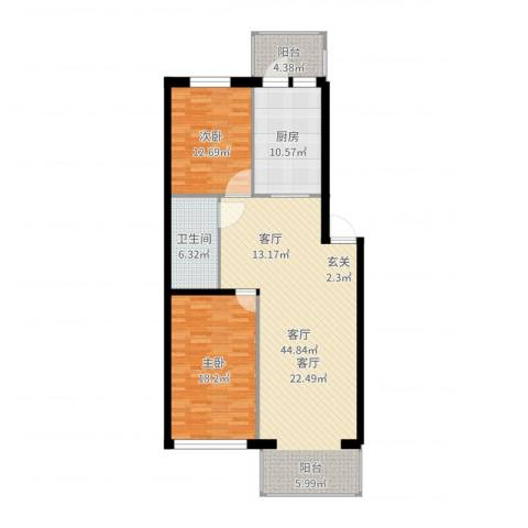 滨江凤凰城2室1厅1卫1厨121.00㎡户型图