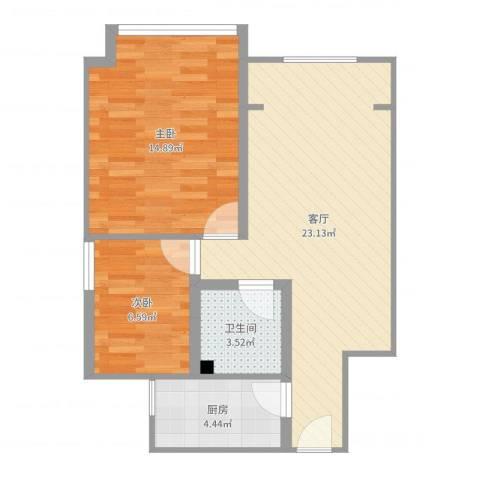 蓝光星华・海悦城2室1厅1卫1厨66.00㎡户型图