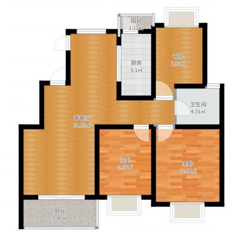 颐和盛世3室2厅1卫1厨97.00㎡户型图