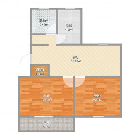 银山小区2室1厅1卫1厨64.00㎡户型图