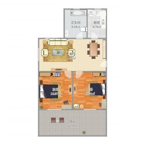 银山小区2室1厅1卫1厨121.00㎡户型图