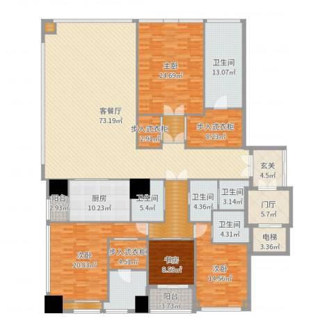 融创玖玺台2号楼E户型4室2厅5卫1厨294.00㎡户型图