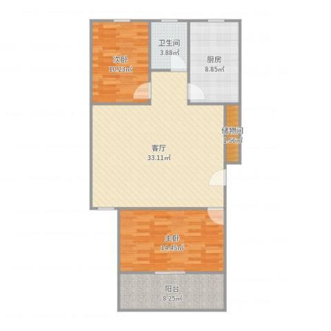银山小区2室1厅1卫1厨100.00㎡户型图