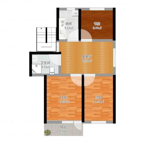 银桥花苑3室2厅1卫1厨75.00㎡户型图