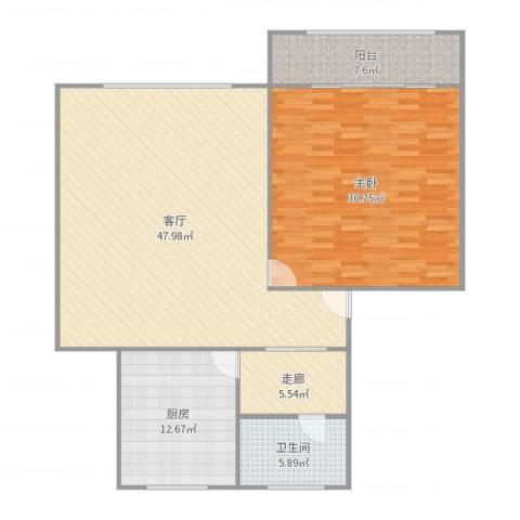 银山小区1室1厅1卫1厨138.00㎡户型图