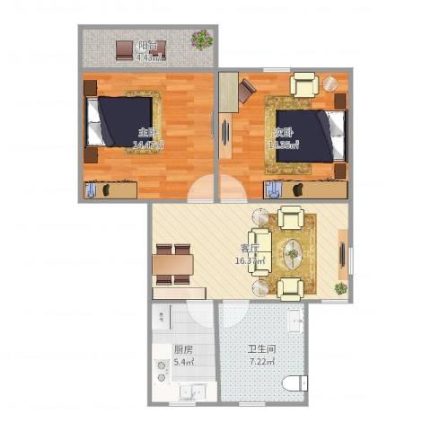 银桥花苑2室1厅1卫1厨78.00㎡户型图