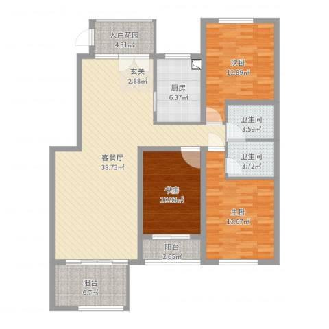 泰安盛世3室2厅2卫1厨129.00㎡户型图