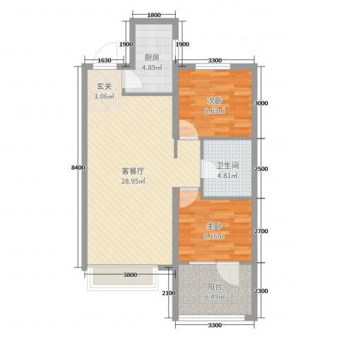 博辉万象城2室2厅1卫1厨92.00㎡户型图