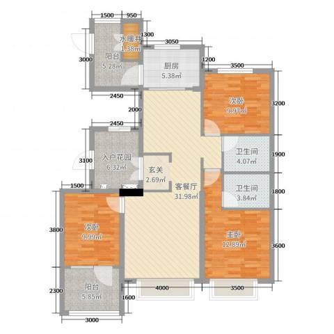 博辉万象城3室2厅2卫1厨125.00㎡户型图