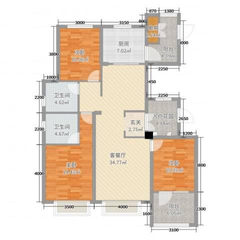 博辉万象城3室2厅2卫1厨136.00㎡户型图