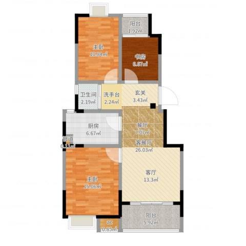 百丽明珠花园3室2厅1卫1厨95.00㎡户型图