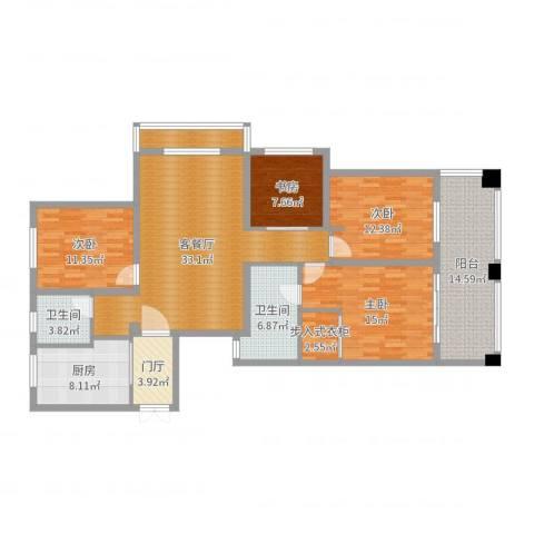 瑞景花园8-甲-9014室2厅2卫1厨153.00㎡户型图