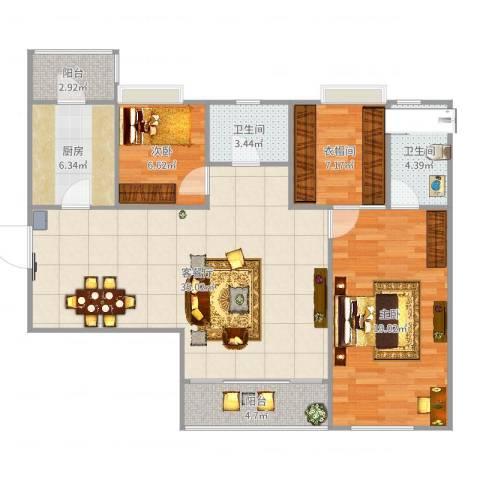 东方傲景峰2室2厅2卫1厨122.00㎡户型图