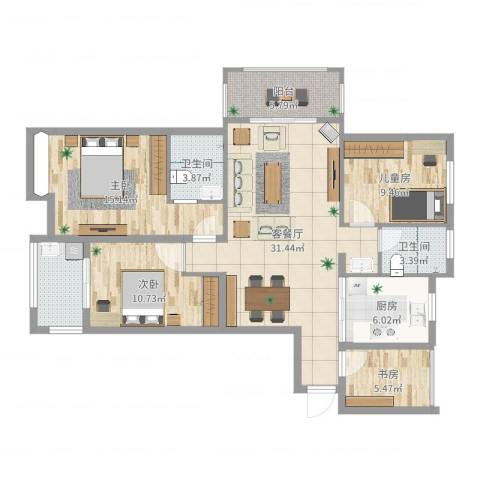 亚泰梧桐世家4室2厅2卫1厨127.00㎡户型图