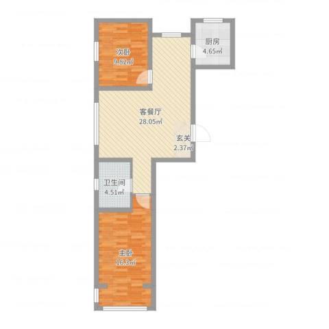 金色玺园2室2厅1卫1厨91.00㎡户型图