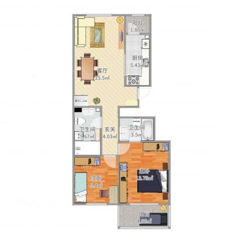 华龙苑北里2室1厅2卫1厨88.00㎡户型图