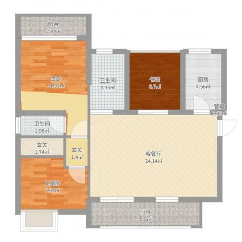 丽水佳园3室2厅3卫1厨91.00㎡户型图