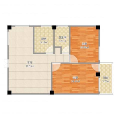 龙丰花园2室1厅1卫1厨80.00㎡户型图