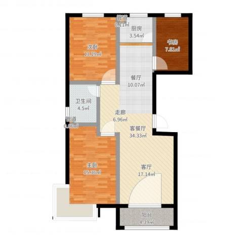 玉泉华庭3室2厅1卫1厨104.00㎡户型图