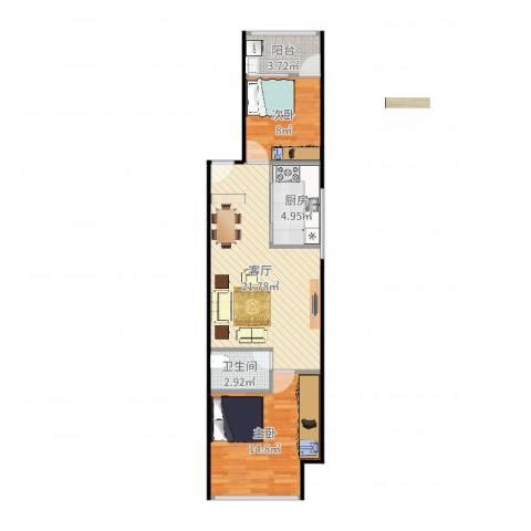 福津大街2室1厅1卫1厨70.00㎡户型图