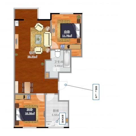大兴区幸福家园2室1厅1卫1厨81.00㎡户型图