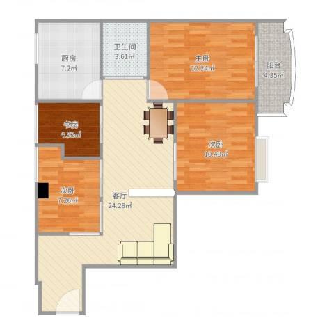 倚绿山庄4室1厅1卫1厨92.00㎡户型图