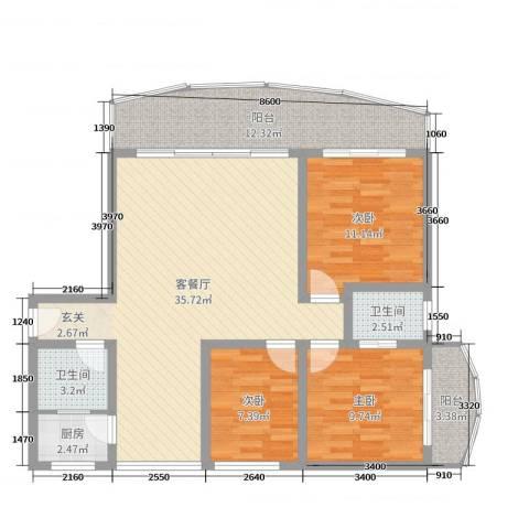 江南乐居3室2厅2卫1厨107.00㎡户型图