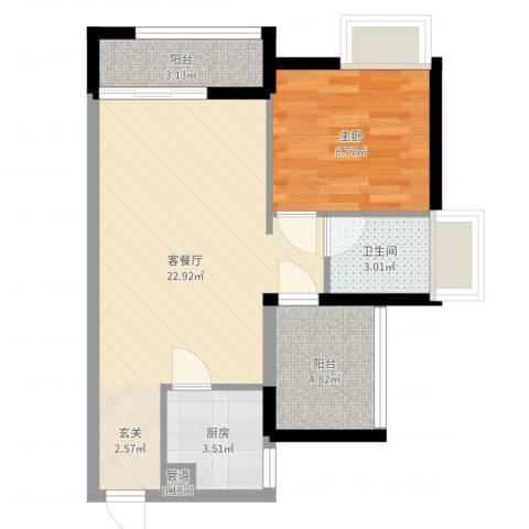 名流印象三期幸福季1室2厅1卫1厨46.35㎡户型图