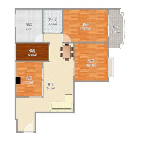 倚绿山庄4室1厅1卫1厨93.00㎡户型图
