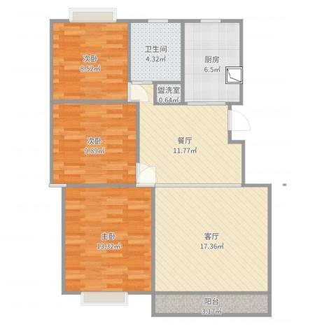 七彩星城3室4厅1卫1厨94.00㎡户型图