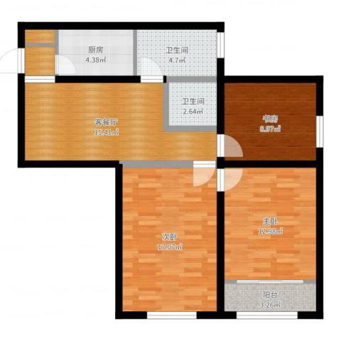 兴都大楼3室2厅2卫1厨89.00㎡户型图