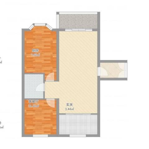 紫金城2室2厅1卫1厨74.96㎡户型图