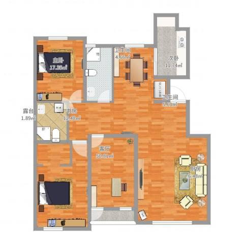 宜君佳和3室1厅2卫1厨139.00㎡户型图