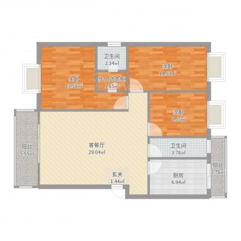 德堡花园3室2厅2卫1厨108.00㎡户型图