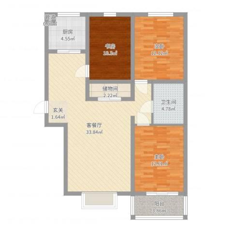 燕大星苑红树湾3室2厅1卫1厨105.00㎡户型图