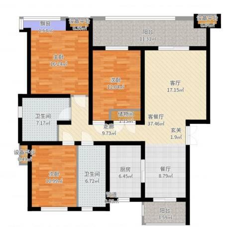 中都沁园3室2厅2卫1厨144.00㎡户型图