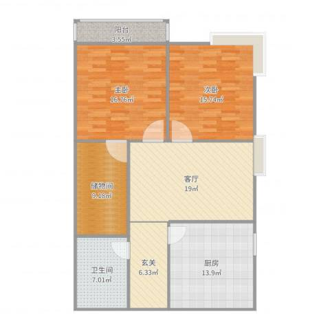 五龙湾山水庭院2室1厅1卫1厨114.00㎡户型图