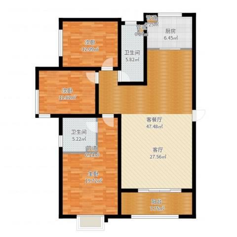 浮来春公馆3室2厅2卫1厨146.00㎡户型图