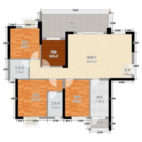 东泰花园4室2厅2卫1厨131.00㎡户型图