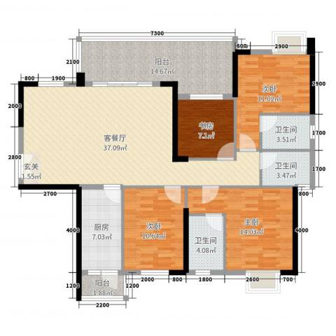 东泰花园4室2厅3卫1厨141.00㎡户型图