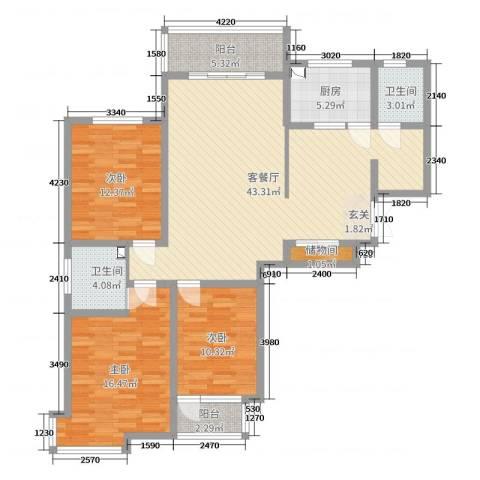 金域首府3室2厅2卫1厨114.00㎡户型图
