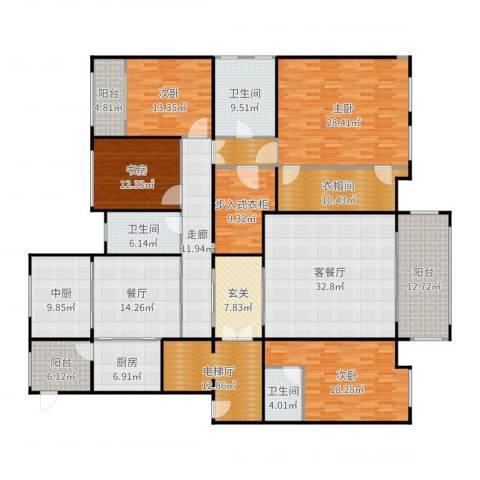 中海紫御公馆4室3厅3卫1厨294.00㎡户型图