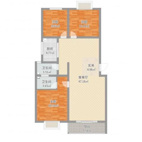 华荣・东方明珠3室2厅2卫1厨129.00㎡户型图