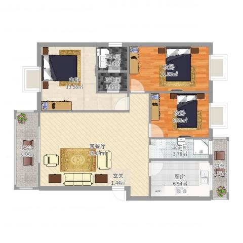 德堡花园3室2厅3卫1厨108.00㎡户型图