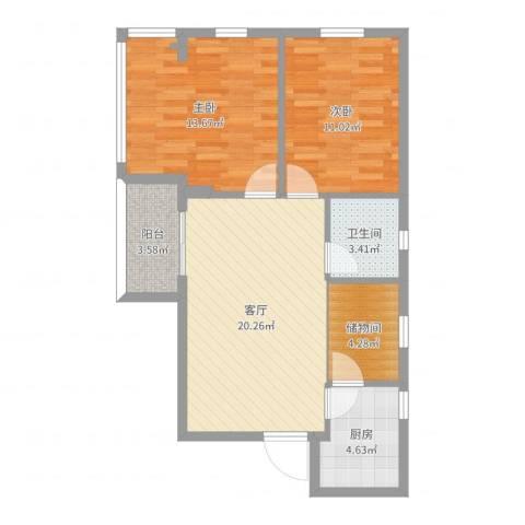 广海花园二期2室1厅1卫1厨76.00㎡户型图