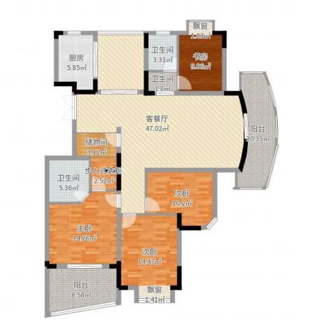 蝶庄4室2厅3卫1厨171.00㎡户型图